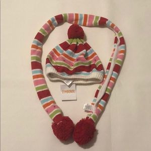 Gymboree multicoloured striped hat and scarf set